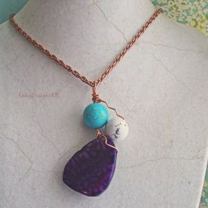 Jewelry - Purple Dragon Vein Agate Gemstone Pendant Necklace